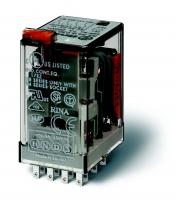 Промежуточные реле 4 перекидных контакта миниатюрные Промежуточное реле с 4 перекидными контактами 7А. Управление 24В DC. Кнопка тест с блокировкой + Механический индикатор