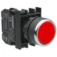 Кнопка нажимная круглая, без фиксации, красная (1НО)