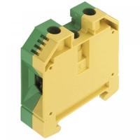Клемма проходная 10кв мм желто-зеленая (земля) с контактом на DIN-рейку