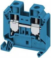 Клемма проходная 16кв мм синяя с контактом на DIN-рейку