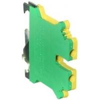 Клемма проходная 4кв мм желто-зеленая (земля) с контактом на DIN-рейку