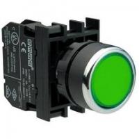 Кнопка нажимная круглая, без фиксации, зеленая (1НО)